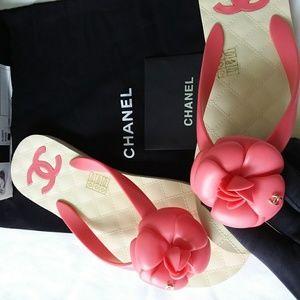 Chanel Rubber Light Pink Flip Flops Size 38